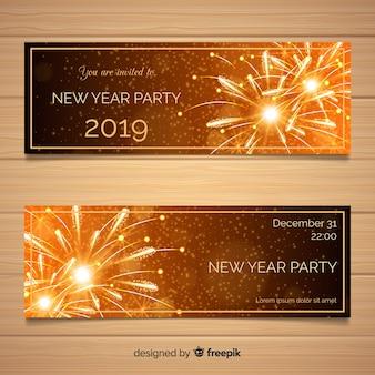 Eleganckie banery party nowy rok z realistycznym wystrojem