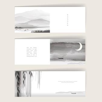 Eleganckie banery ustawiają projekt szablonu z elementami pędzla tuszu