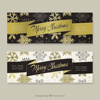 Eleganckie banery wesołych świąt złote płatki śniegu