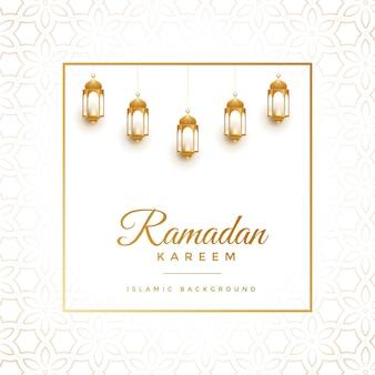 Eleganckie białe i złote tło ramadan kareem
