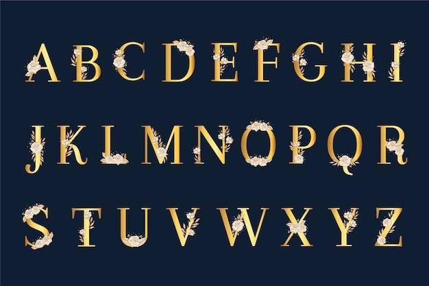 Eleganckie białe kwiaty i litery alfabetu ślubu