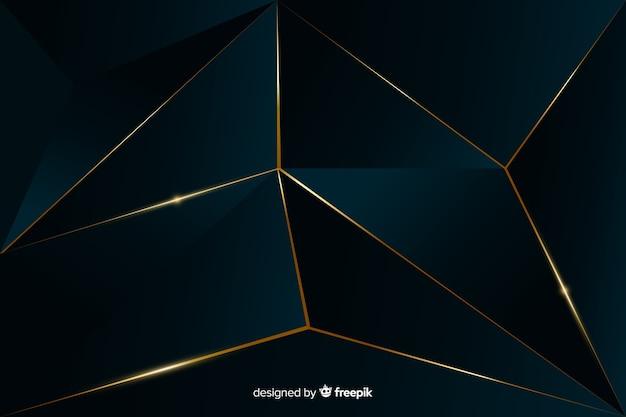 Eleganckie ciemne tło wielokąta ze złotymi liniami