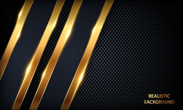 Eleganckie ciemnoniebieskie luksusowe tło papercut ze złotymi liniami i efektem świetlnym nowoczesny szablon 3d