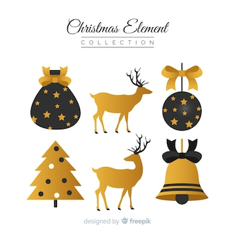 Eleganckie czarne i złote elementy świąteczne