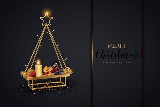 Eleganckie czarno-złote drzewo bożonarodzeniowe i noworoczne