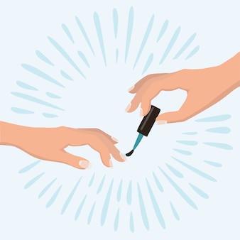 Eleganckie dłonie kobiety robi manicure stosując czerwony lakier do paznokci. pojęcie piękna. produkty kosmetyczne, salon spa, pielęgnacja ciała. ilustracja.