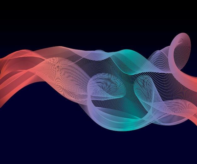 Eleganckie, futurystyczne, zaawansowane technologicznie tło strumienia fali szumu. łagodny wzór dymu abstrakcyjny gładki szary nowoczesny miękki układ. ilustracja