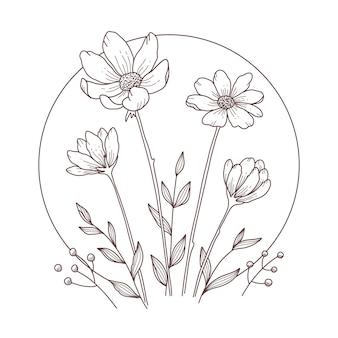 Eleganckie grawerowane liniowe kwiaty rumianku