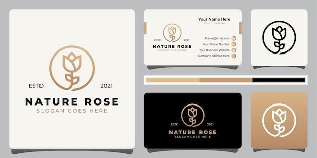 Eleganckie i minimalistyczne logo piękna róży kwiatowej w stylu grafiki liniowej z wizytówką