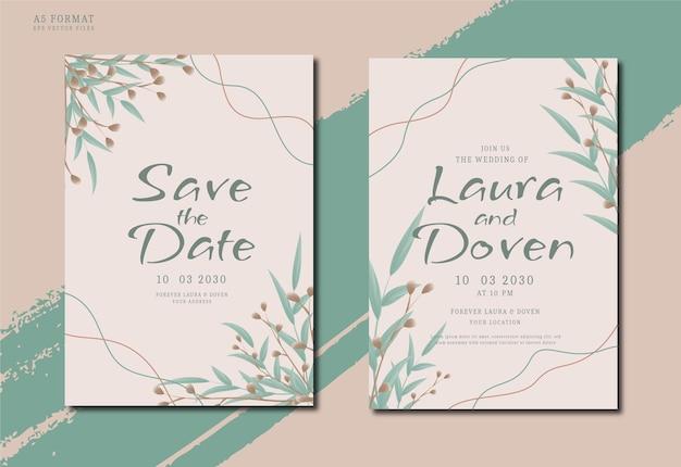Eleganckie i minimalistyczne ręcznie rysowane zaproszenie na ślub