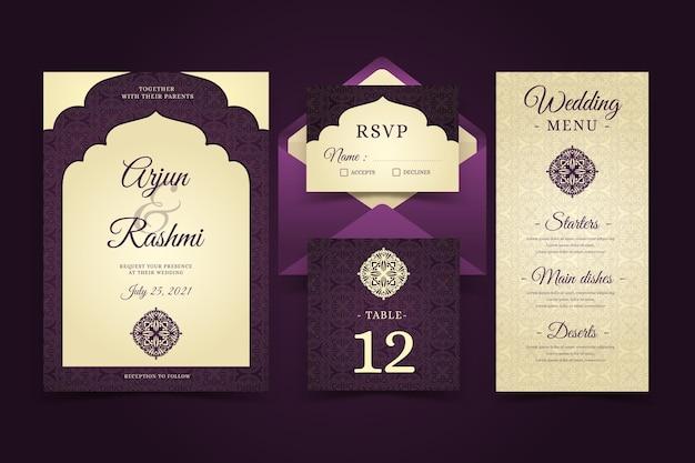 Eleganckie indyjskie szablony papeterii ślubnej