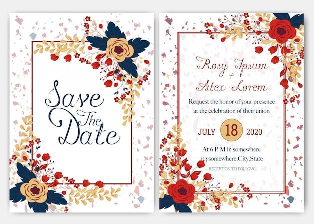 Eleganckie karty ślubne składają się z różnych rodzajów kwiatów.