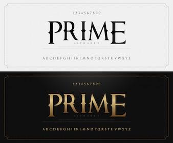Eleganckie klasyczne litery alfabetu czcionki i liczby