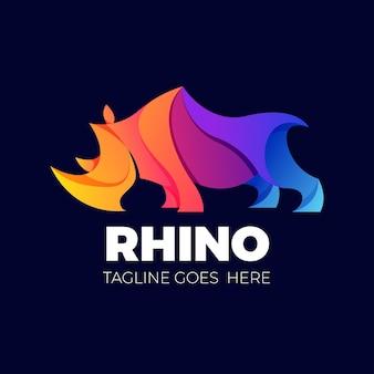 Eleganckie kolorowe logo nosorożca