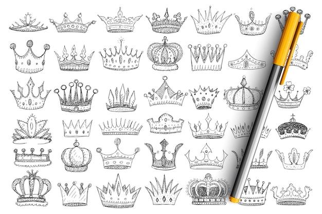 Eleganckie korony dla królów doodle zestaw. kolekcja ręcznie rysowane stylowe korony akcesoria nakrycia głowy dla królów i królowych ozdobione klejnotami i klejnotami na białym tle