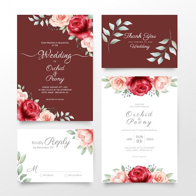 Eleganckie kwiaty ślubne zaproszenia karty zestaw szablonów