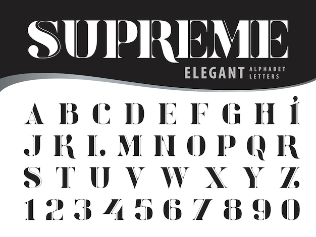 Eleganckie litery alfabetu, nowoczesne czcionki w stylu serif, vintage i retro typografia
