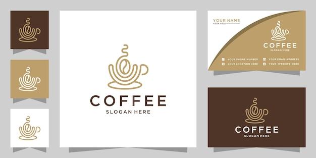 Eleganckie logo kawy i projekt wizytówki