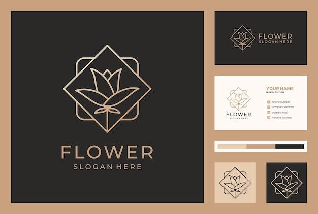 Eleganckie logo kwiatowe w stylu monoline z szablonem wizytówki.