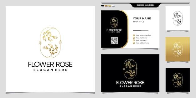 Eleganckie logo kwiatowej róży ze złotą linią i wzorem wizytówki
