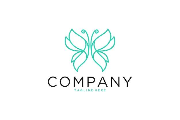 Eleganckie logo linii sztuki motyla