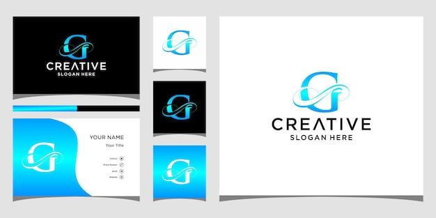 Eleganckie logo litery g z projektem wizytówki