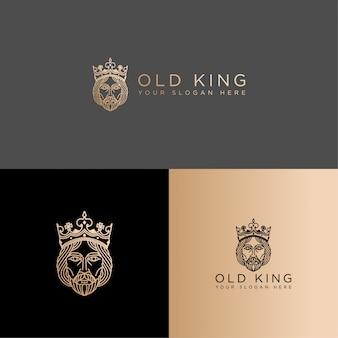 Eleganckie logo sztuki linii króla edytowalny szablon