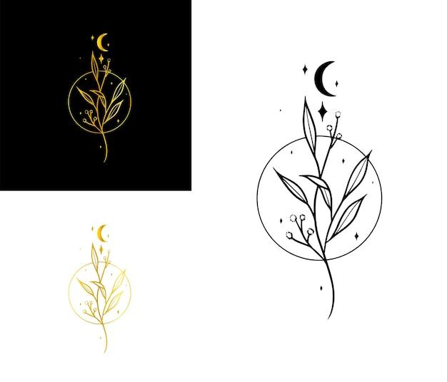 Eleganckie logo wysadzane liśćmi księżyca i gwiazd oraz kółkiem elegant luxury sparkly boho