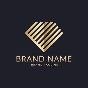 Eleganckie logo ze złotym diamentem
