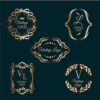 Eleganckie logo ze złotymi ramkami