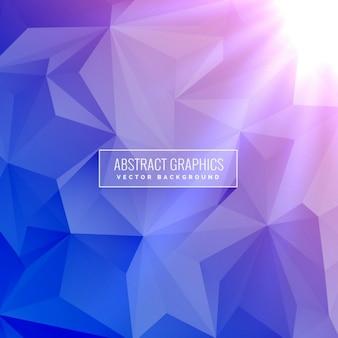 Eleganckie low poly geometryczne niebieskie tło z promieni świetlnych