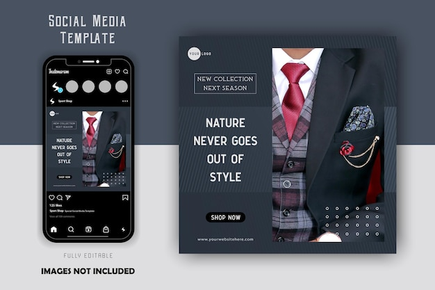 Eleganckie luksusowe szare mody męskie social media szablon postu na instagram