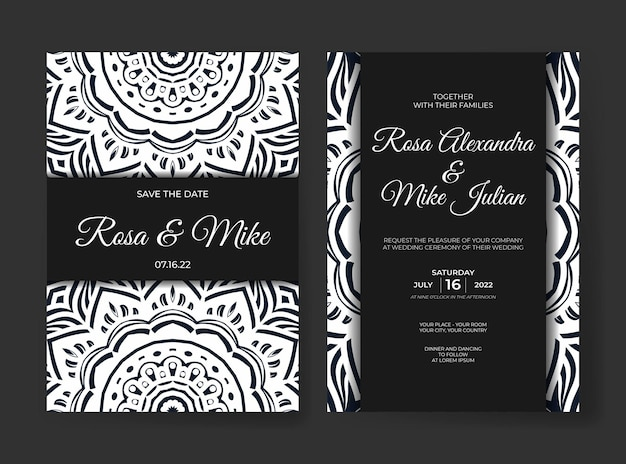 Eleganckie luksusowe zaproszenie na ślub z dekoracją mandali