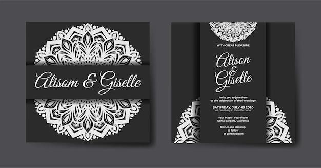 Eleganckie luksusowe zaproszenie na ślub z szablonem mandali