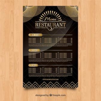 Eleganckie menu restauracji o złotym stylu