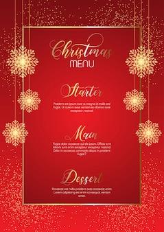 Eleganckie menu świąteczne z błyszczącymi płatkami śniegu