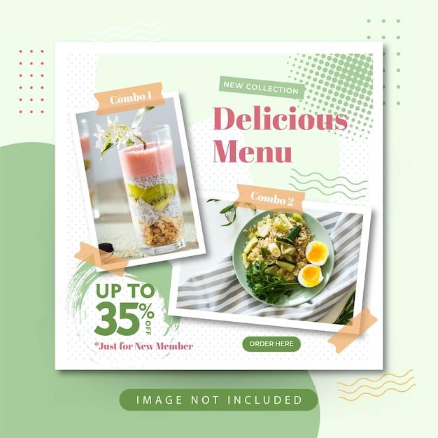 Eleganckie menu żywności social media instagram post