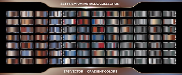Eleganckie, metaliczne srebrne, złote, miedziane i brązowe próbki gradientu mega zestaw palety kolekcji dla szablonów etykiet okładek wstążki ramki obramowania