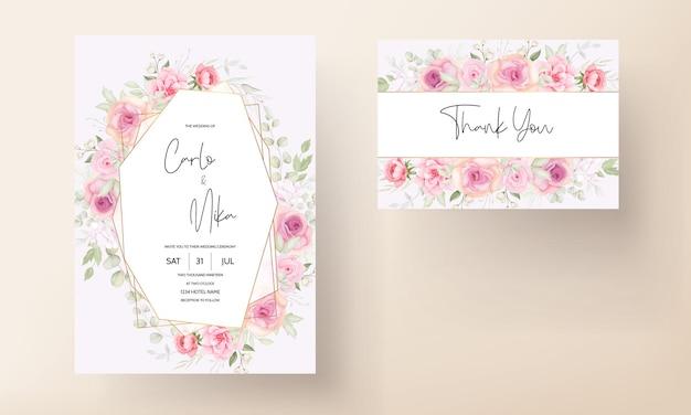 Eleganckie miękkie zaproszenie na ślub kwiatowy wzór karty