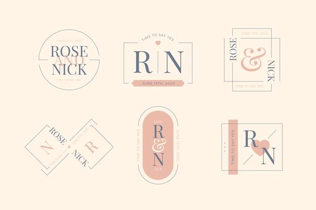 Eleganckie minimalistyczne różowe monogramy na ślub