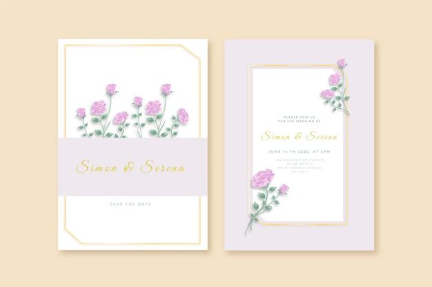 Eleganckie minimalistyczne zaproszenie na ślub w stylu kwiatowym