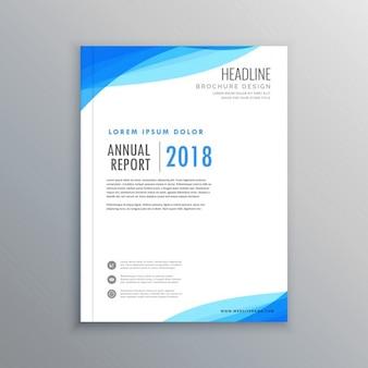 Eleganckie niebieskie fale szablon broszura biznes