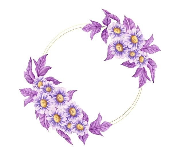 Eleganckie niebieskie i fioletowe ramki kwiatowy na białym tle