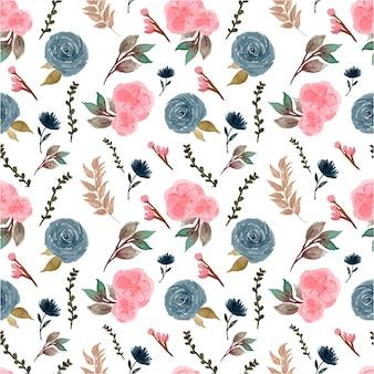 Eleganckie niebieskie różowe róże rustykalne kwiatowy wzór