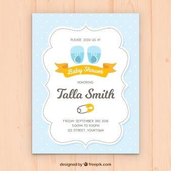 Eleganckie niebieskie zaproszenie na baby shower