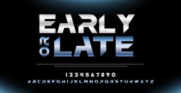 Eleganckie nowoczesne czcionki alfabetu typografii i zestaw liczb