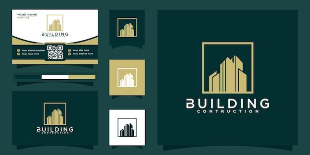 Eleganckie nowoczesne logo budynku nieruchomości dla mieszkaniowej firmy mieszkaniowej i wizytówki premium wektor