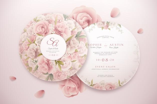 Eleganckie okrągłe zaproszenie na ślub zestaw szablonu