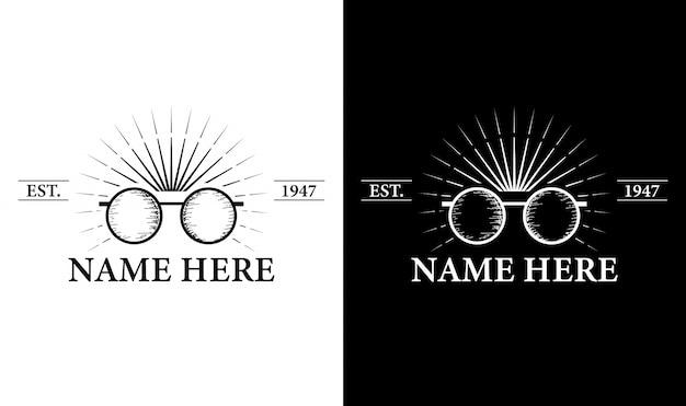 Eleganckie okulary vintage retro odznaka etykieta emblemat logo inspiracja