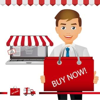 Eleganckie osoby, ludzie biznesu kupują przedmiot w sklepie internetowym